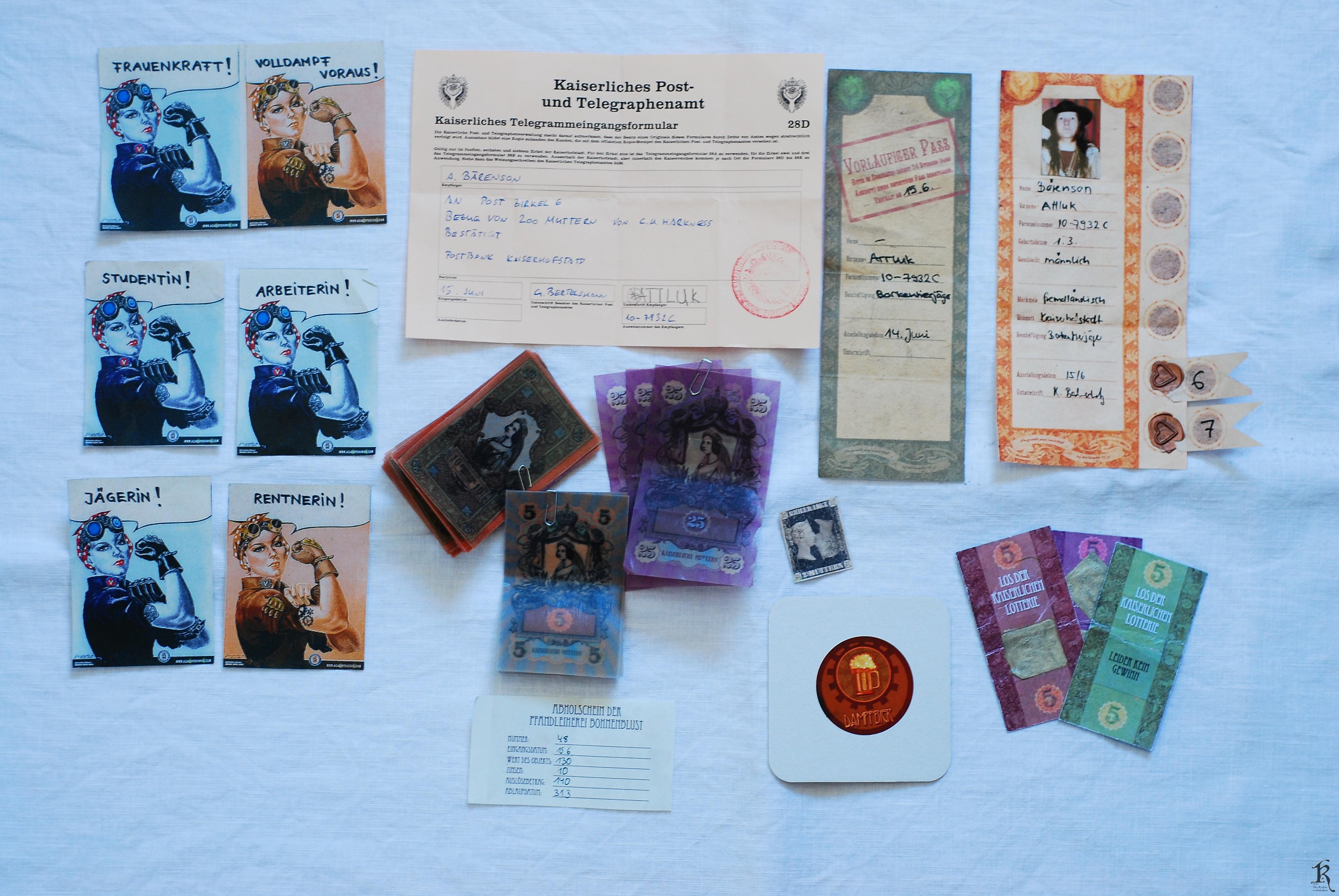 Politisches, Telegramm, Geldscheine, Pässe und staatliche Lottorielose...